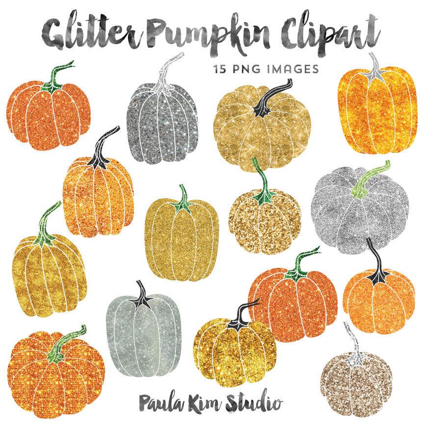 Gold Glitter Clip Art, Pumpkin Clipart, Thanksgiving Clipart.