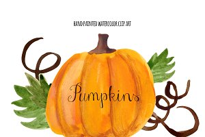Watercolor pumpkin Photos, Graphics, Fonts, Themes, Templates.