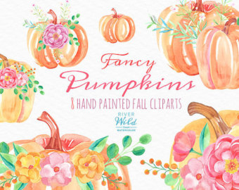 Watercolor Pumpkin Clipart Autumn Fall Watercolor Trendy PNG.