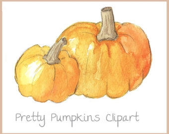Watercolor Pumpkin Clipart.
