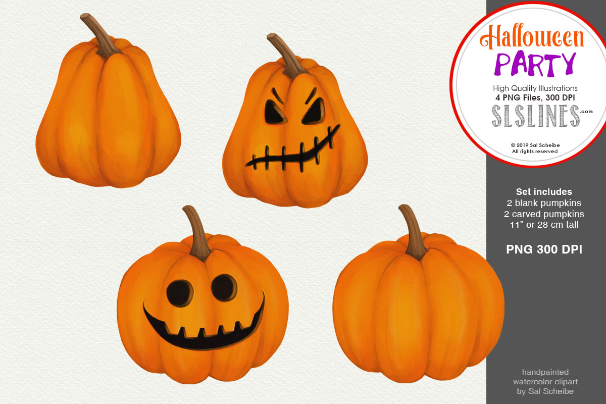 Halloween Party, 4 Watercolor Pumpkins PNG.