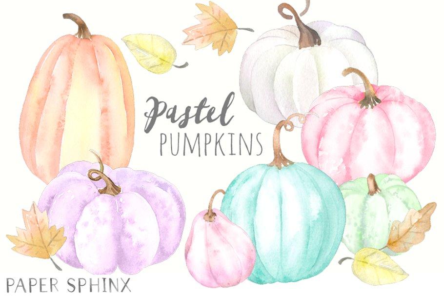 Pastel Pumpkins Clipart Pack.