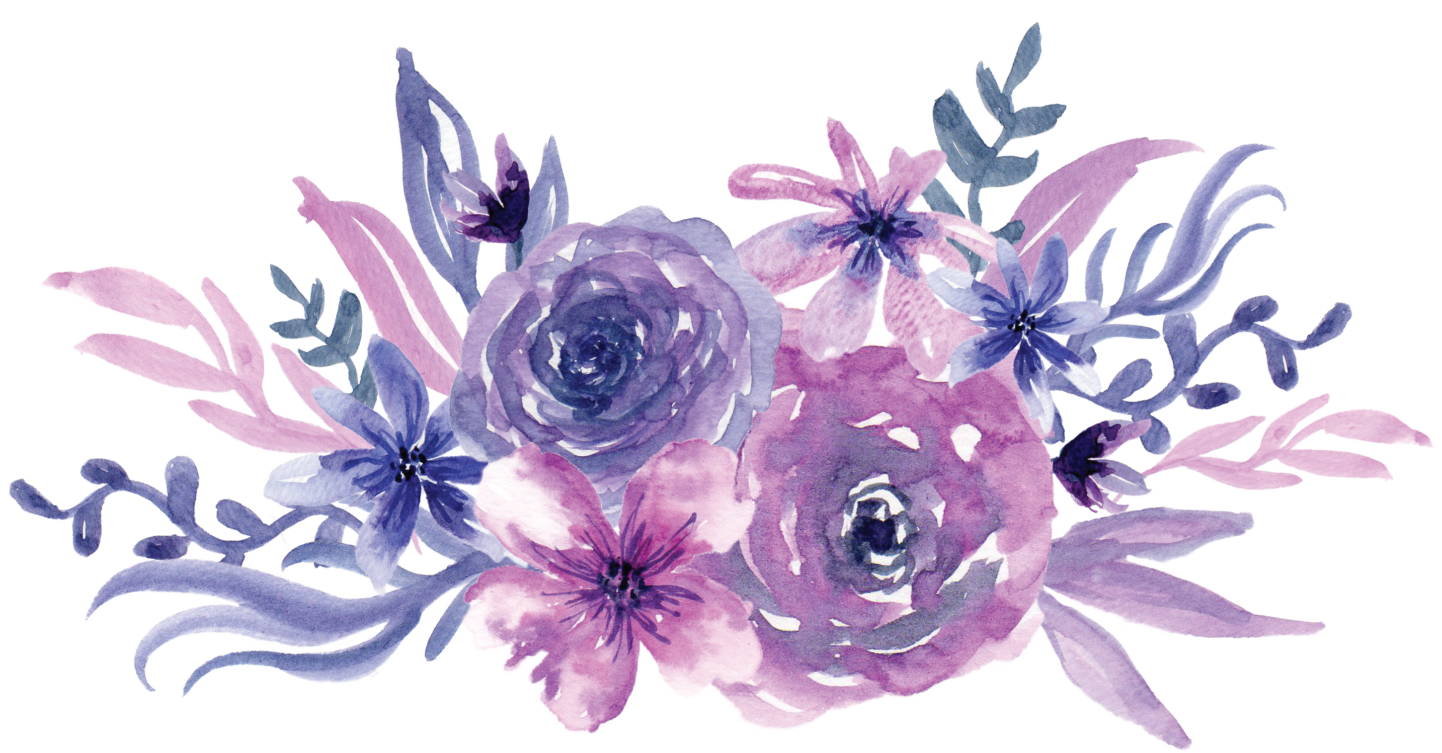 Watercolor painting Flower Purple.