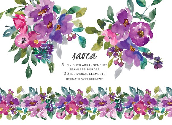 Watercolor Purple Flowers Clipart.