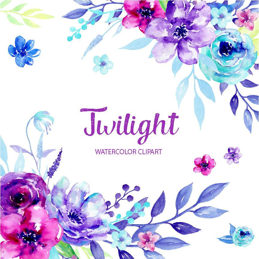 Watercolor Clipart Twilight, blue and purple flowers, ultra violet flowers  for instant download.