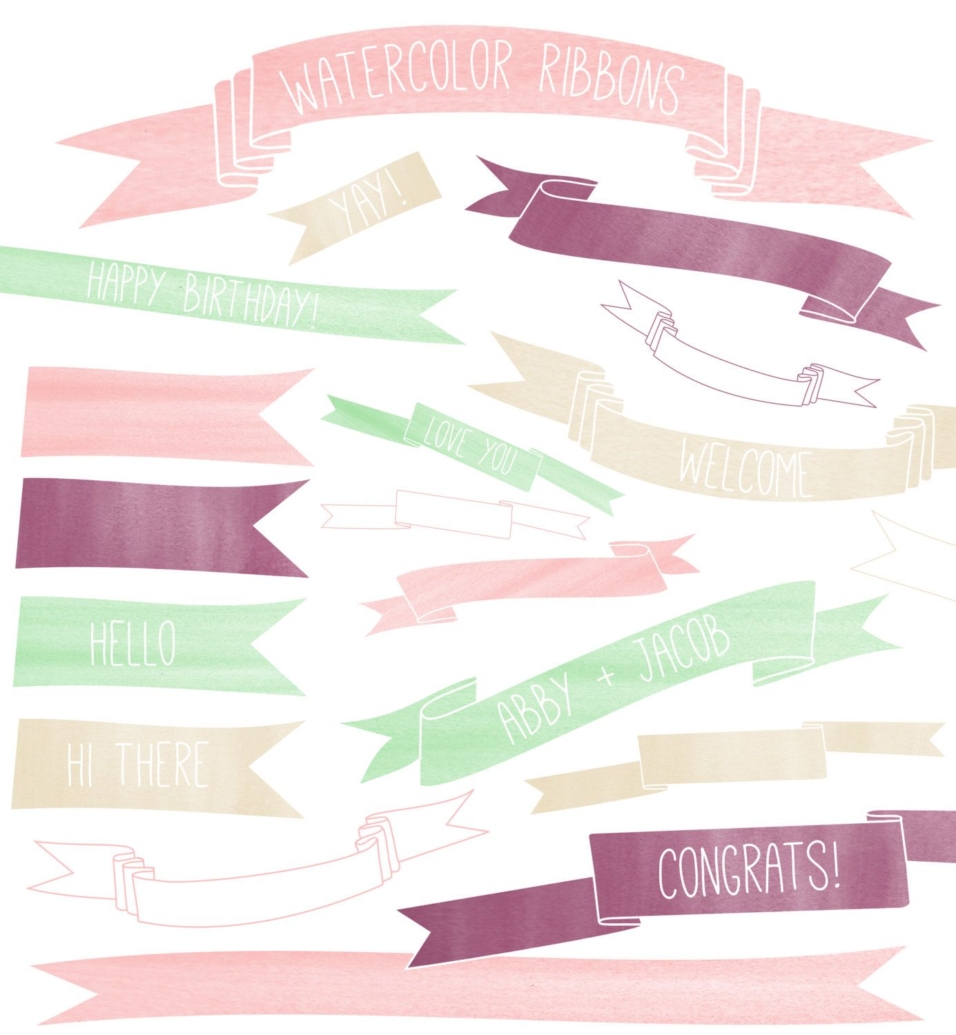 Watercolor Clipart Ribbons, Watercolor Banners Clipart, Hand.