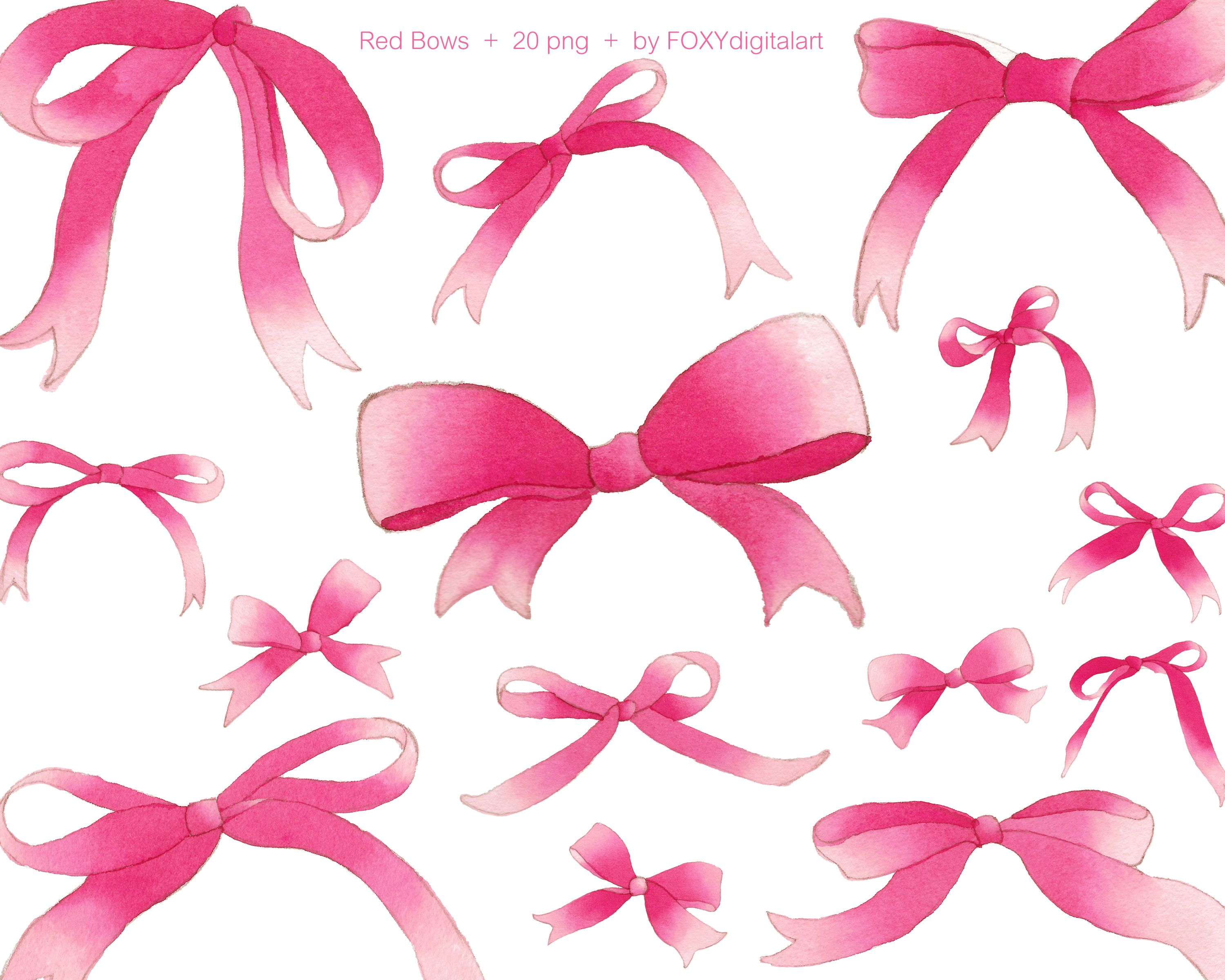 Red ribbon clipart, red bow clip art, watercolor ribbon.