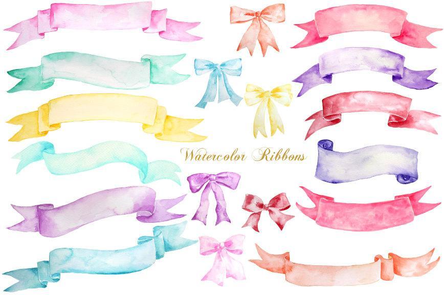 Ribbon Clip Art, watercolor banners, watercolor ribbons and watercolor bows.