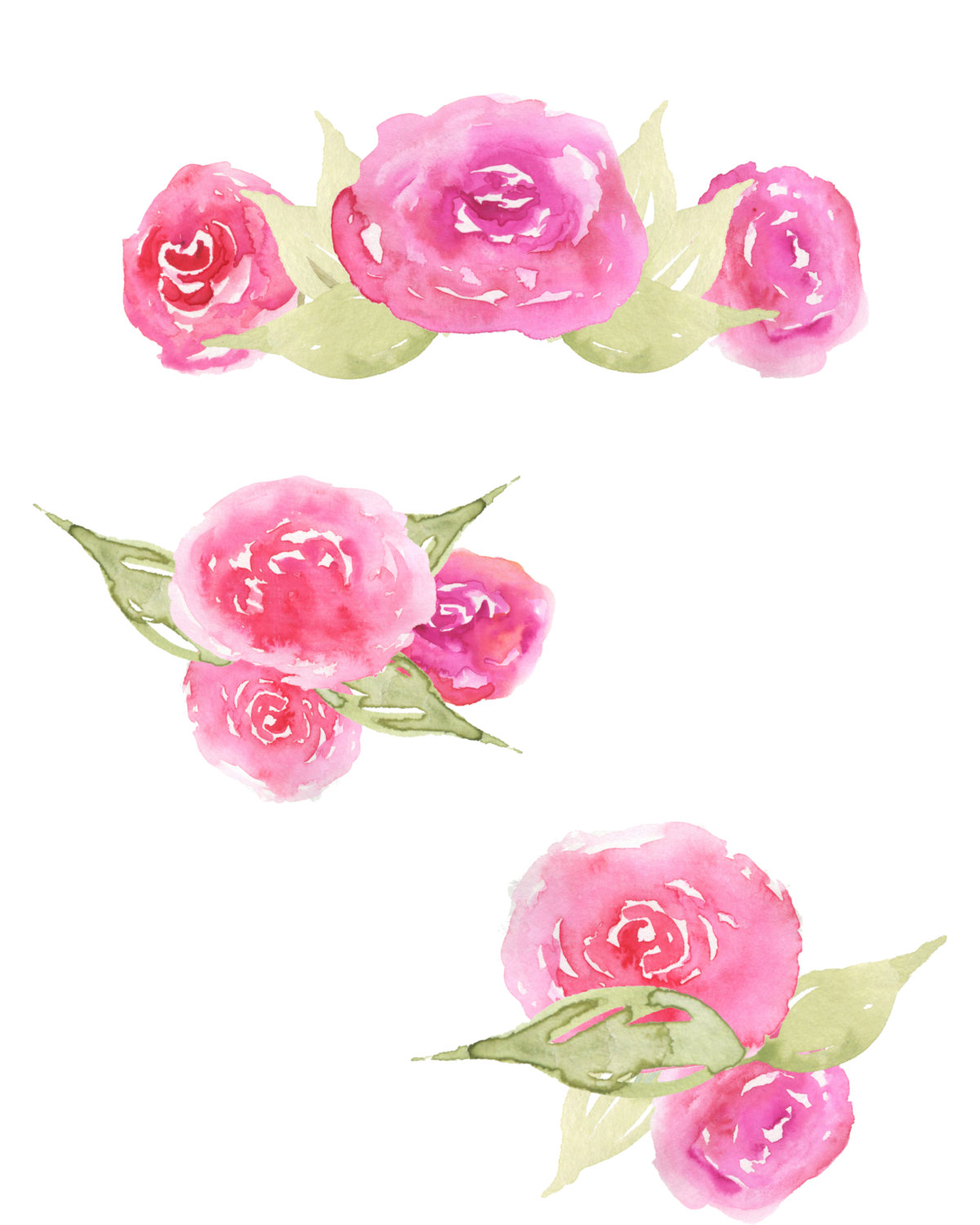 Watercolor Rose Clipart.