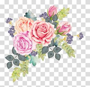 Three flowers illustration, Flower Purple Watercolor.