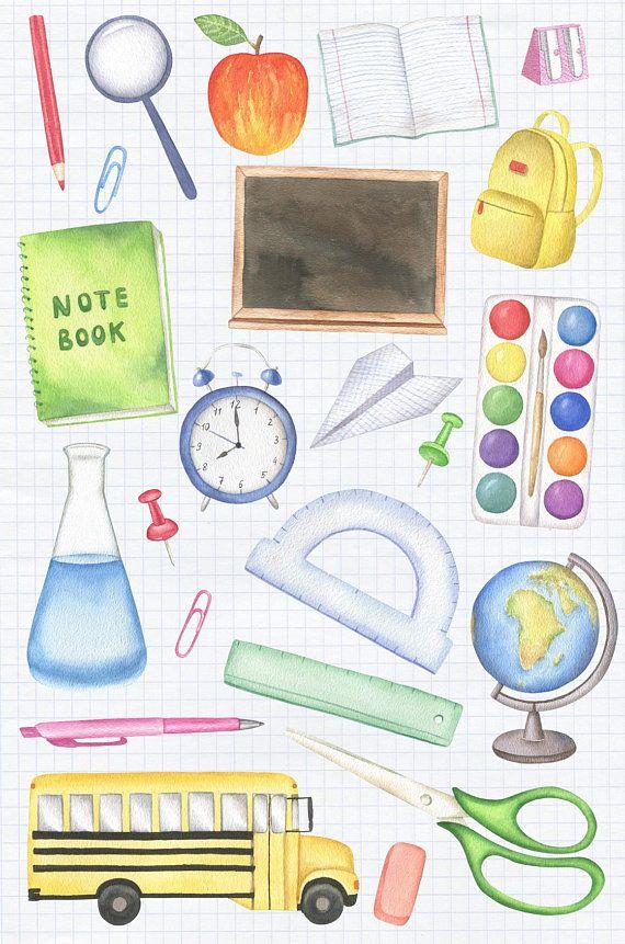 Back to School Clipart, Watercolor Clipart, School Supplies.