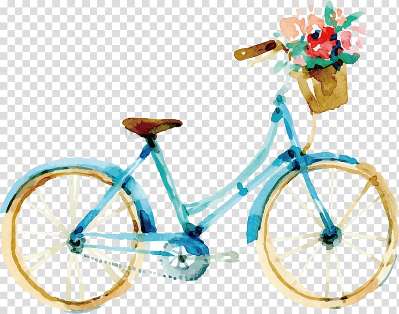 Teal bicycle painting, Guelph Watercolor painting Wedding.