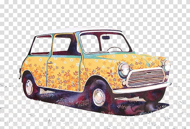 MINI Cooper Car Watercolor painting Innocenti Mini, Cartoon.