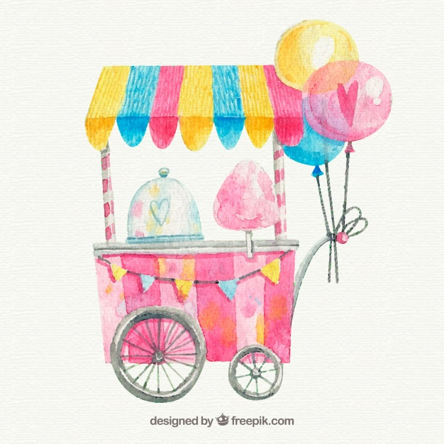 Watercolor cotton candy cart with balloons.