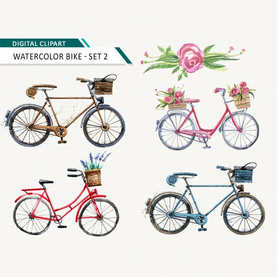Bicycle clipart Watercolor bike printable in 2019.