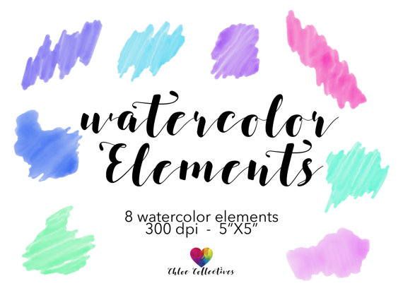 Watercolor Clipart Elements.