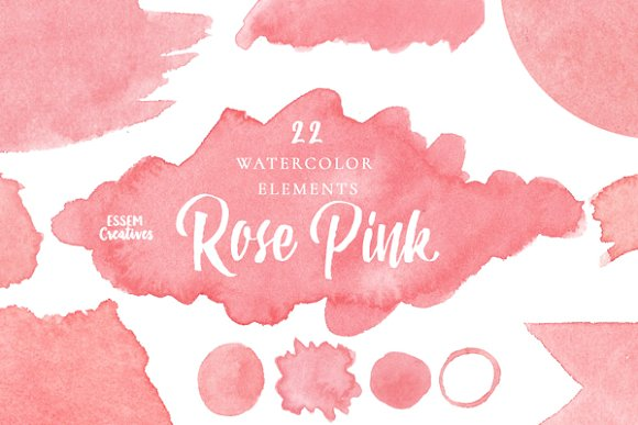 Pink Watercolor Splash Clipart SET ~ Illustrations on Creative Market.