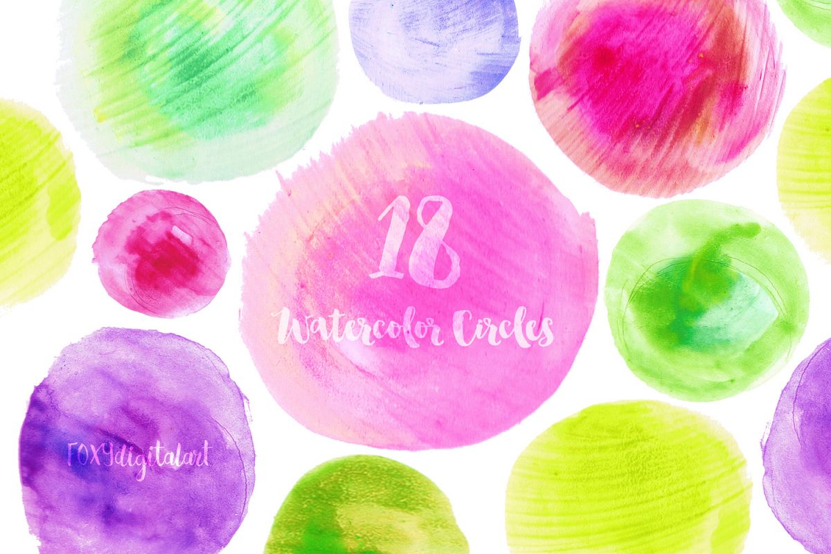 Watercolor Clipart Circles Watercolor Splotch Hand Painted.