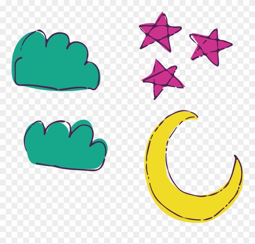 And Stars Cartoon Watercolor Transprent Png Free.