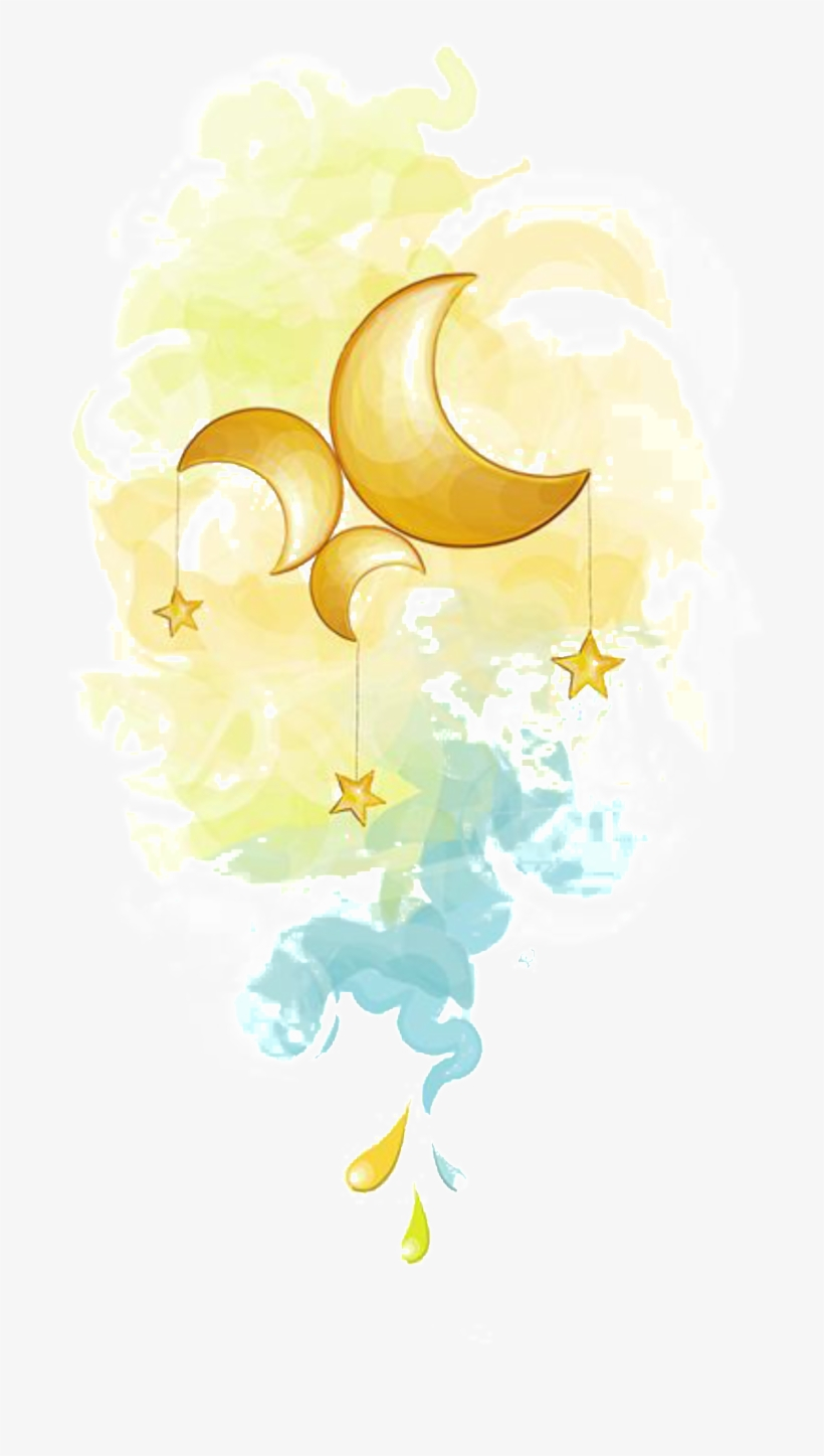Painted Fairy Moon And Star Pattern Elements.