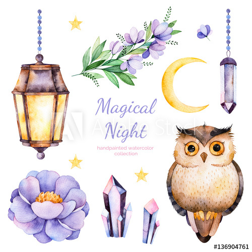 Handpainted watercolor flowers,leaves,moon and stars,night.
