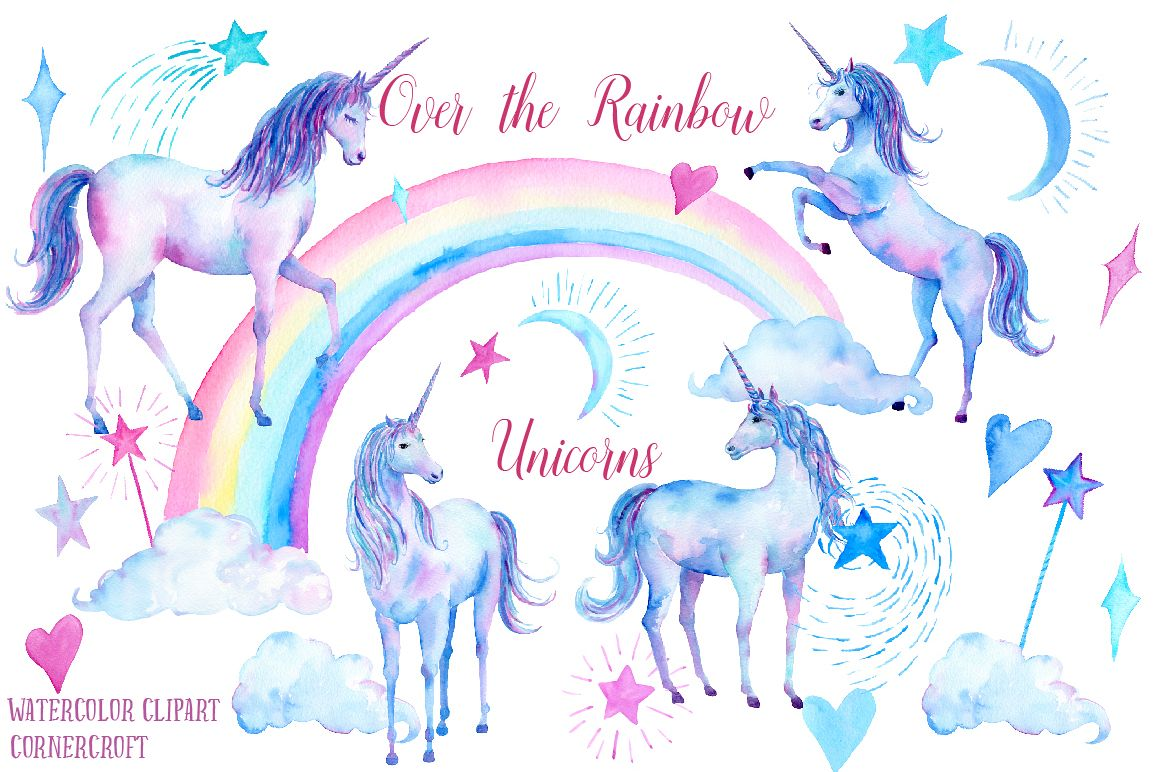 Watercolor Over the Rainbow Unicorn Clipart.