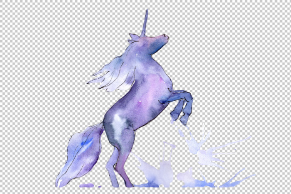 Cute unicorn horse PNG watercolor set.