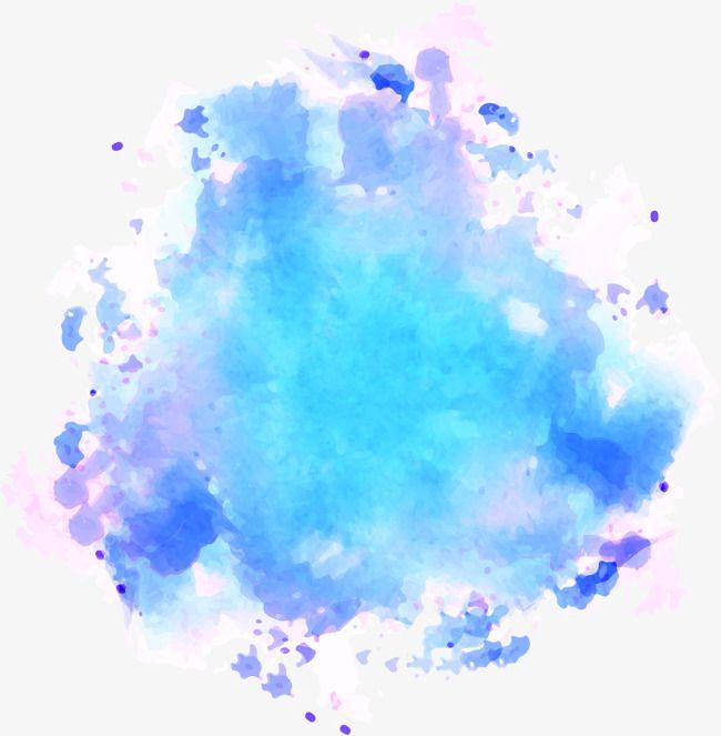 Blue Watercolor Graffiti, Vector Material, Blooming.