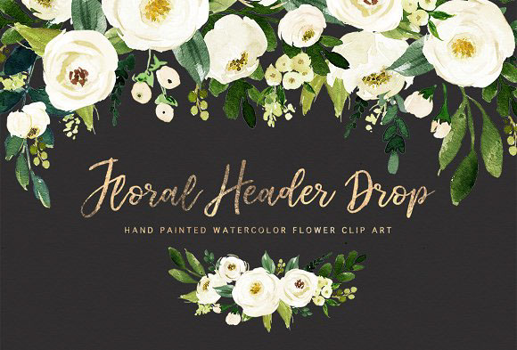 Watercolor White Flower Clip Art by Graphic Box on Behance.