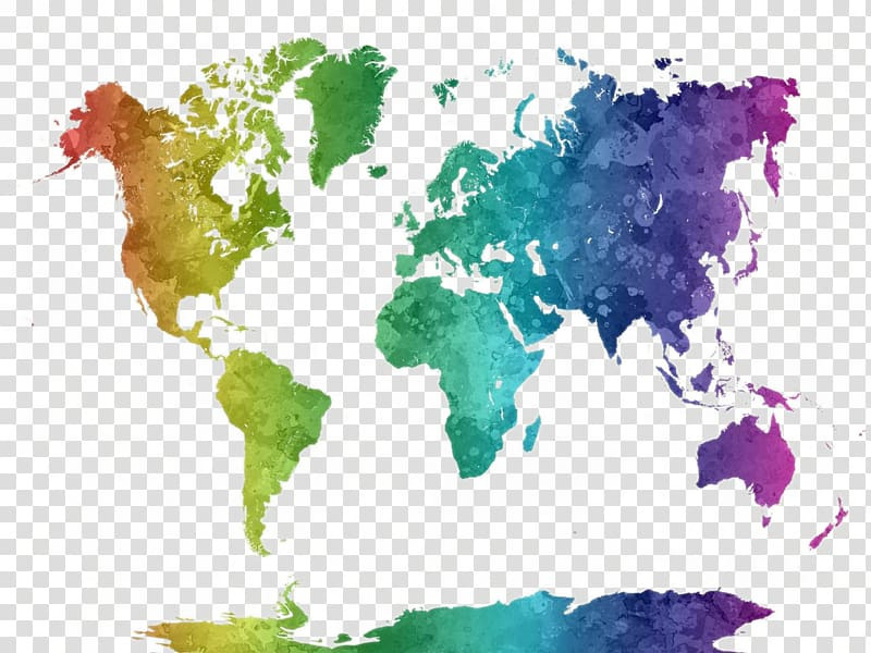 Multicolored globe map, World map Watercolor painting Poster.