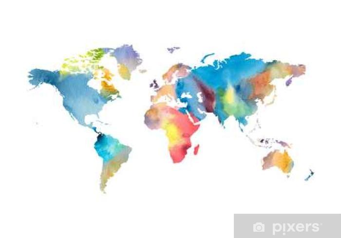 Watercolor world map Sticker.