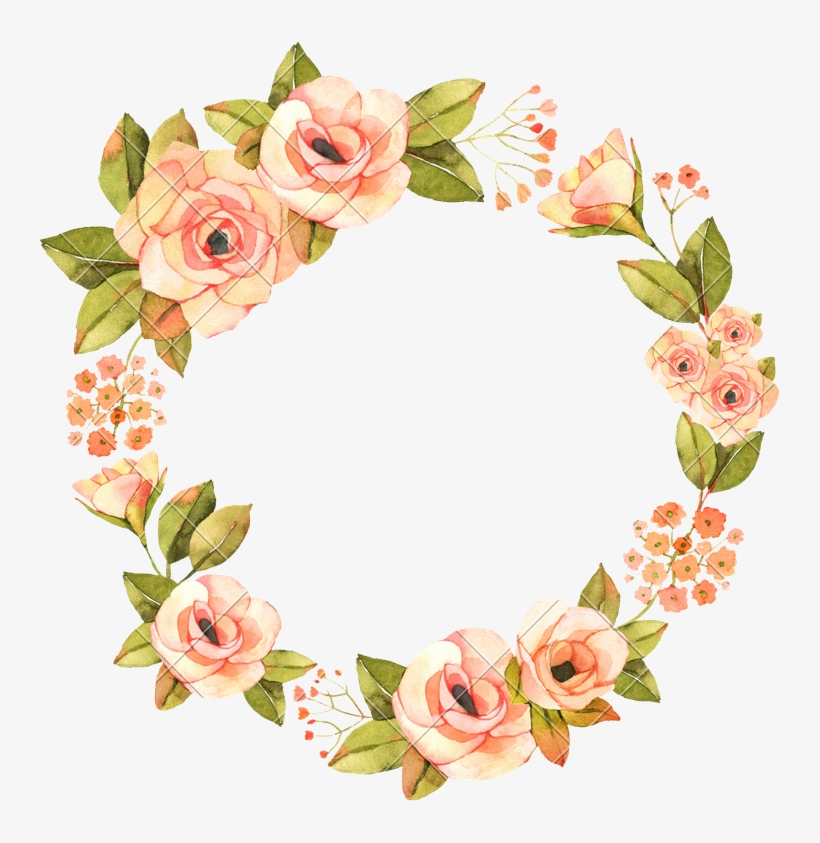 Watercolor Flower Wreath Png Image Free Download.