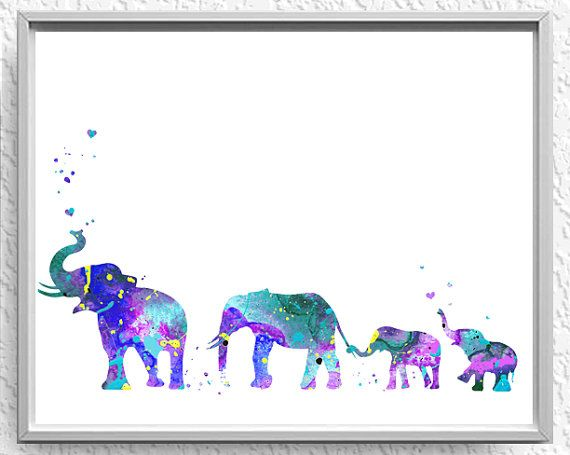 Elephant Family Mom Dad twin babies nursery by.