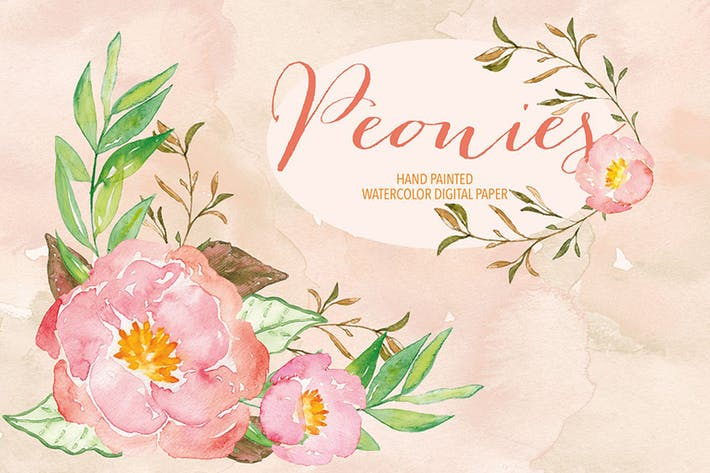 Watercolor Peony clipart by designloverstudio on Envato Elements.