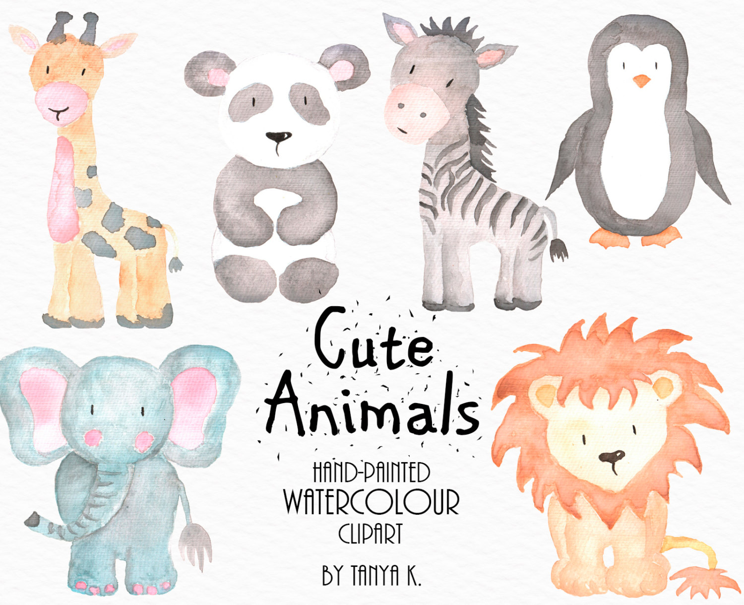 Watercolor Animals Clipart Commercial Use Watercolor.