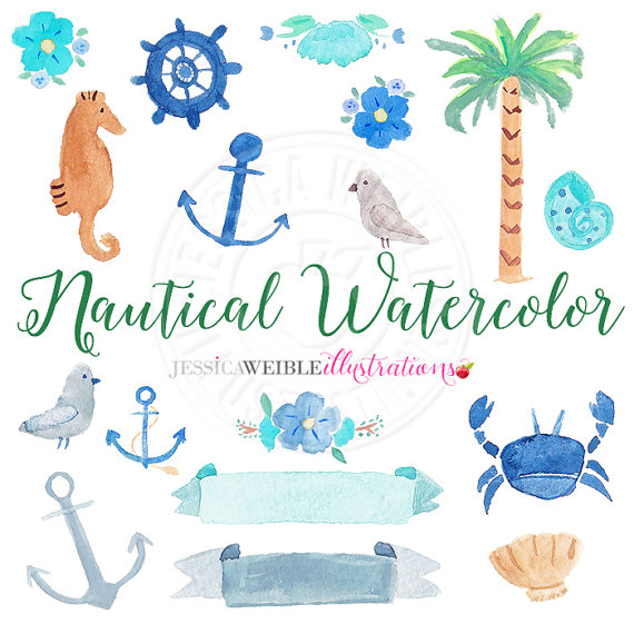 Nautical Watercolor Clipart, Digital Watercolor Nautical Clip Art.