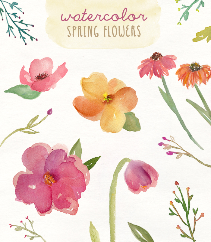 These Watercolour Clip Art Spring Flowers Are Super Cute!.