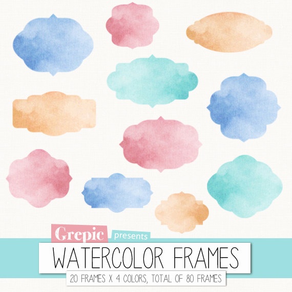 Watercolor frame clipart: Digital frames