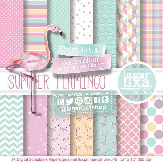Digital Paper Flamingo watercolour party Pale Pink Teal green clip.