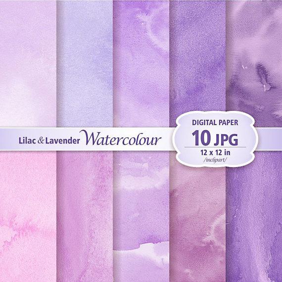 Lilac & Lavender Watercolour Digital Paper Clip Art. Set of 10 JPG.