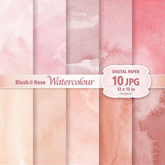 Blush & Rose Watercolour Digital Paper Clip Art. Set of 10 JPG.