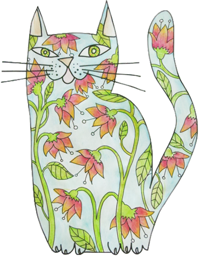 Kitty's Cat: Colouring Books for Adults. Tips and Techniques.
