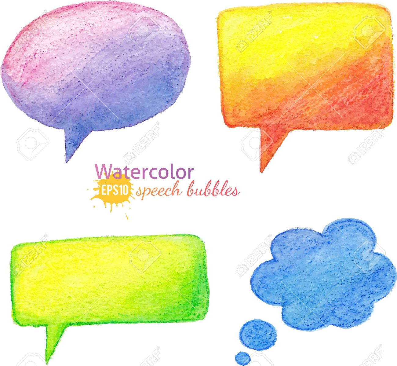 Vector Bright Watercolor Pencils Speech Bubbles Royalty Free.