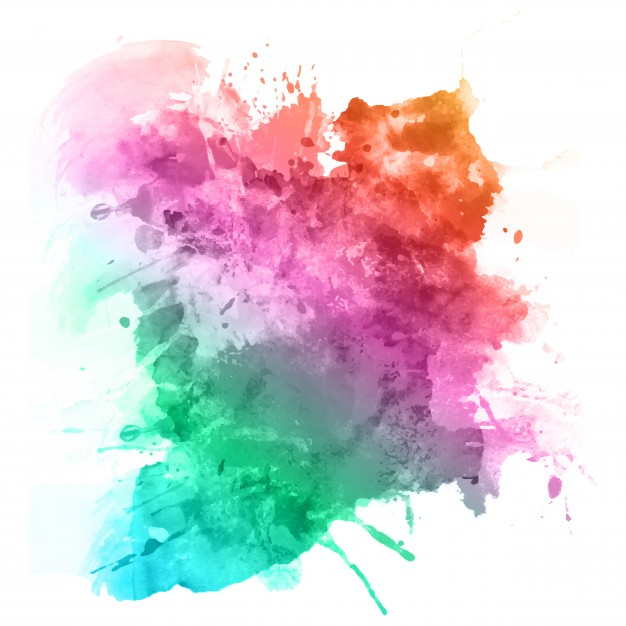 Watercolour splatter in rainbow colours Vector.