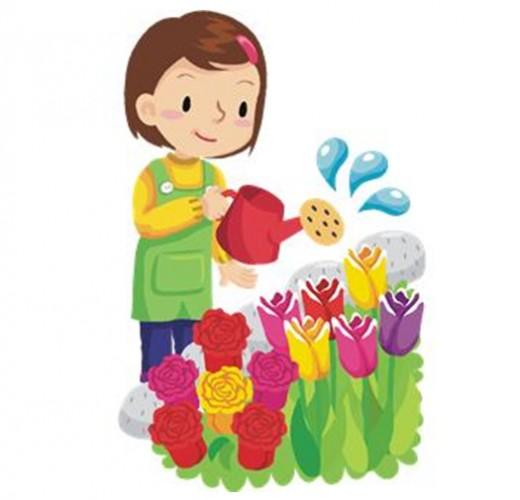 watering flowers cartoon.