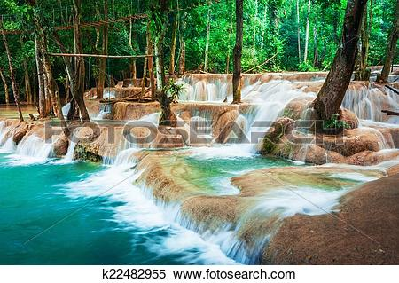 Stock Image of Jangle landscape with turquoise water of Kuang Si.