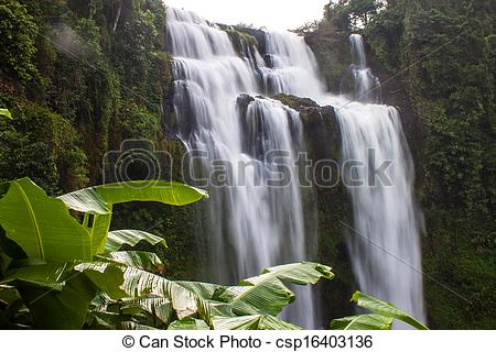 Stock Photos of Tat Yuang waterfall in Laos csp16403136.