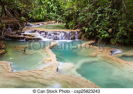 Stock Photo of Kuang Si Waterfalls, beautiful cascade of blue.