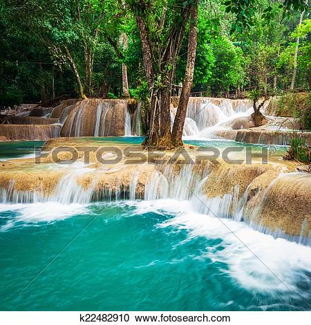Stock Photography of Jangle landscape with turquoise water of.