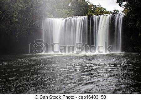 Stock Images of Tat Cham Pee waterfall in Laos csp16403150.